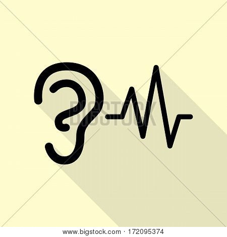 Ear hearing sound sign. Black icon with flat style shadow path on cream background.