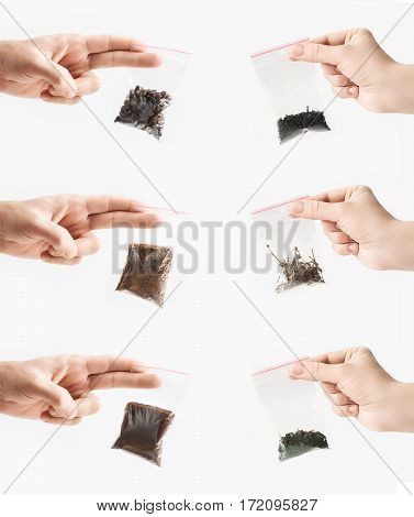 Set of Hands holding different sorts of tea and coffee