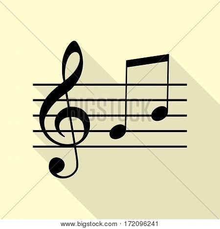 Music violin clef sign. G-clef and notes G, H. Black icon with flat style shadow path on cream background.