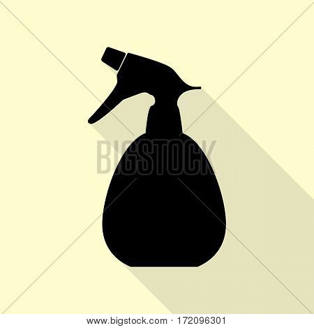 Spray bottle for cleaning sign. Black icon with flat style shadow path on cream background.