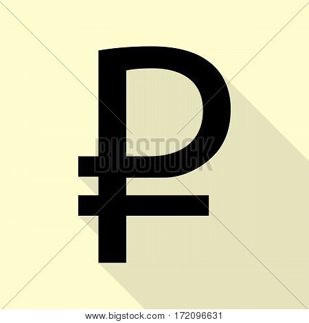 Ruble sign. Black icon with flat style shadow path on cream background.