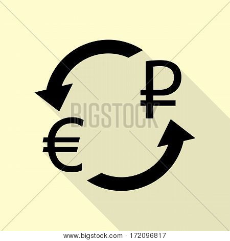 Currency exchange sign. Euro and Russia Rouble. Black icon with flat style shadow path on cream background.