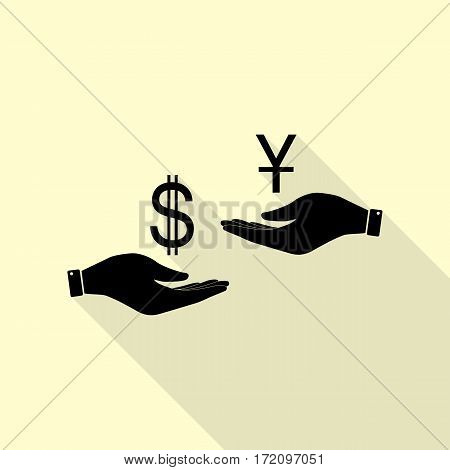 Currency exchange from hand to hand. Dollar and Yuan. Black icon with flat style shadow path on cream background.