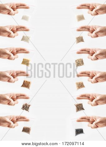 Set of hand holding Plastic transparent zipper bags with full of premium groats isolated on white, Vacuum packages with pasta, peas, groats, rice, seeds, semolina, sugar, flakes. Concept