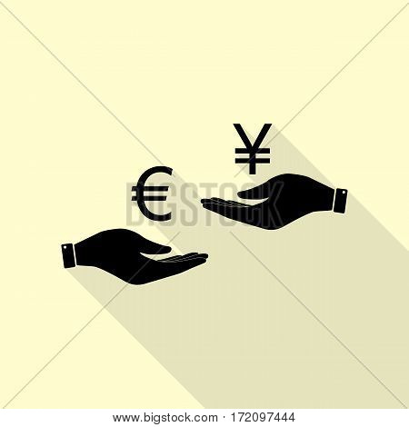 Currency exchange from hand to hand. Euro and Yen. Black icon with flat style shadow path on cream background.