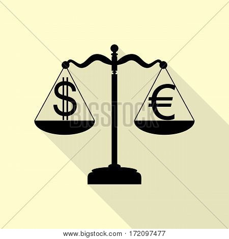 Justice scales with currency exchange sign. Black icon with flat style shadow path on cream background.