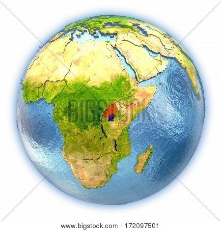 Uganda On Isolated Globe