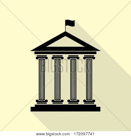 Historical building with flag. Black icon with flat style shadow path on cream background.