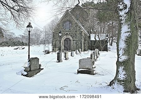 Gothic Chapel part of historic cemetery dating back to 1853. The chapel was built in 1920