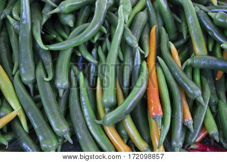 Chilli closeup, green yellow pods on the counter market. Chile pepper, Cayenne pepper, Pungent bouquet of pepper, Chinese pepper. Great photo for the sellers of vegetables