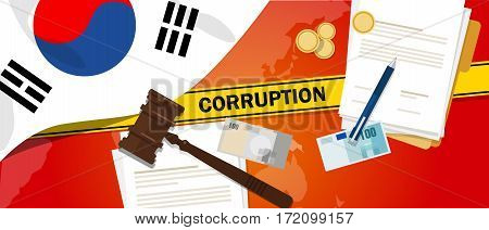 South Korea fights corruption money bribery financial law contract police line for a case scandal government official vector