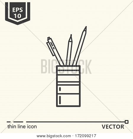Pencil holders. One icon - office supplies series. EPS 10 Isolated objects