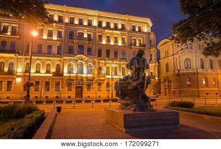 Monument of Peter First 1 at night in Saint-Petersburg Russia.