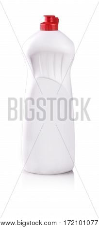 White plastic bottle of cleaning product isolated on white background.