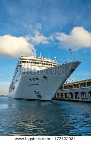 HAVANA,CUBA - FEBRUARY 15,2017 : The modern cruiser ship MSC ARMONIA docked in the Port of Havana