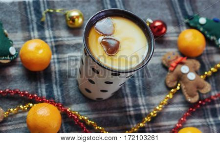 New year hot drink. Merry Christmas evening beverage. Milk for Santa. On the eve of the holiday.