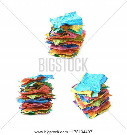 Pile of crumpled colorful origami paper sheets isolated over the white background, set of three different foreshortenings