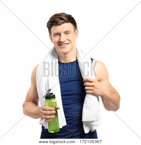 Young handsome sportsman on white background