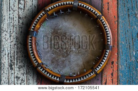 Central Asian Tambourine. Uzbek Doira. The Traditional Uzbek Musical Instrument Doira