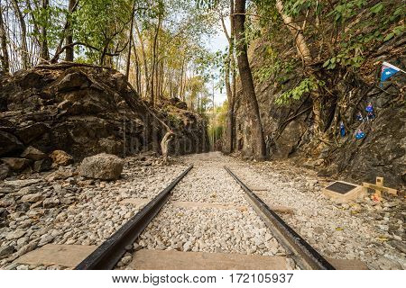 Death Railway Old railway at Hellfire pass Kanchanaburi Thailand