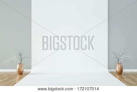 Natural light studio.. Natural light white background. 3D Render, illustration.