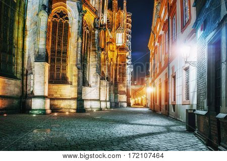 St. Vitus Cathedral at Prague Castle in Prague beautiful night lighting projectors