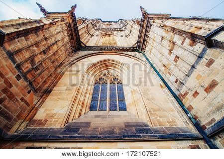 St. Vitus Cathedral at Prague Castle in Prague under Clear Blue Sky Sunny.