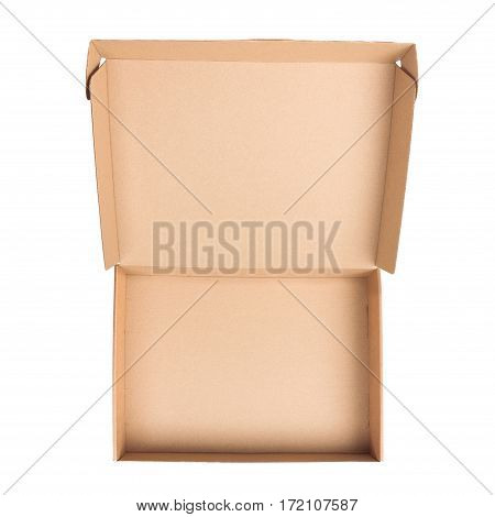 Open cardboard box isolated on white background. Flat lay