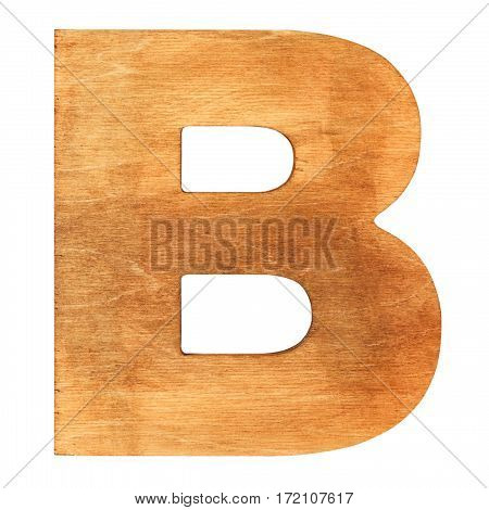Old wooden letter B on wooden background. One of full alphabet wooden set