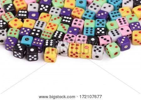 Colorful gambling dice isolated on white background