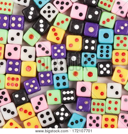 Casino gambling background. Flat lay of gambling dice