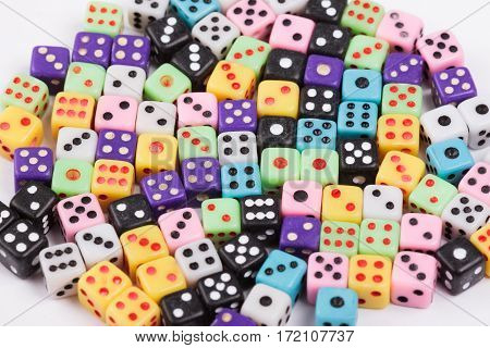 Colorful plastic gambling dice. Gaming concept. View from above