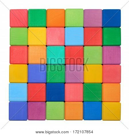 Colorful wooden blocks isolated on white background. Above view