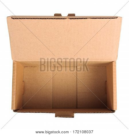 Open empty cardboard box isolated on white background. Flat lay. POV