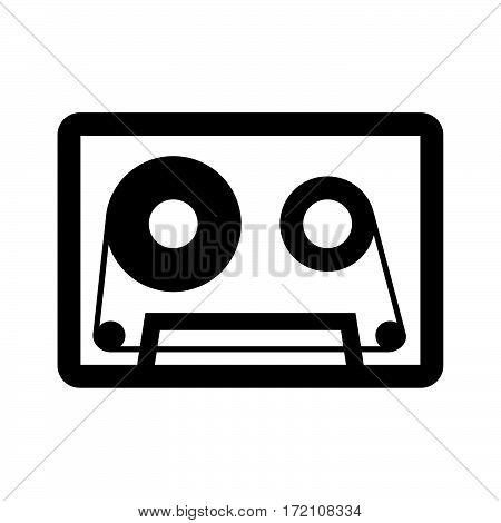 Scheme of audio cassette on white background