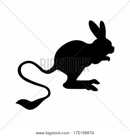 Jerboa-marsupial ( shade picture ) on white background
