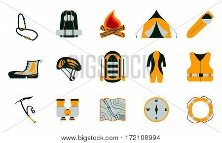 Rafting and tourism icons collection. Tourism equipment. River boat trip web elements. Vector illustration.