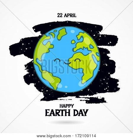 22 April. Happy Earth Day lettering. Vector illustration on white background with a smear of black ink. Cute smiling blue planet.
