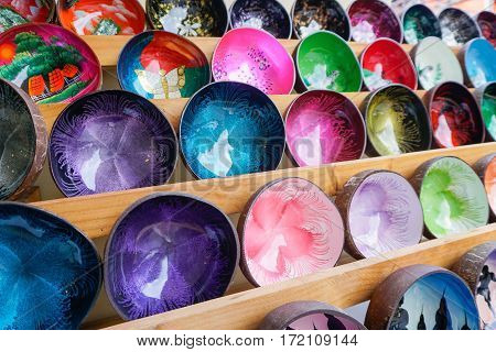 Colorful Souvenier Bowls at Market in Thailand, Samui island