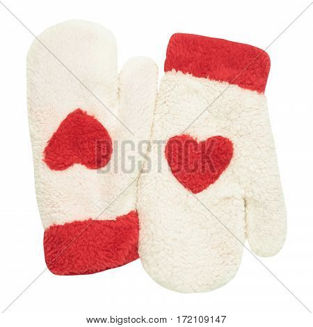 White mittens with red heart symbol isolated on white background. Flat lay
