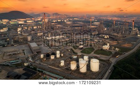 Bird eye view landscape of oil refiery plant and chemical plant in Thailand oil tank oil storage and pipeline