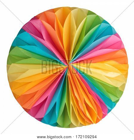Colorful paper ball isolated on white background