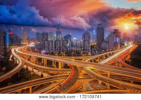 Cross junction super highway in shanghai city with sunset sky Shang hai China Asia