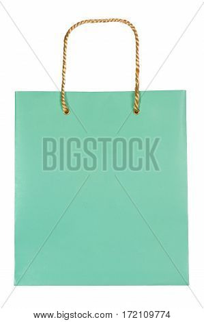 Turquoise paper bag with handle isolated on white background