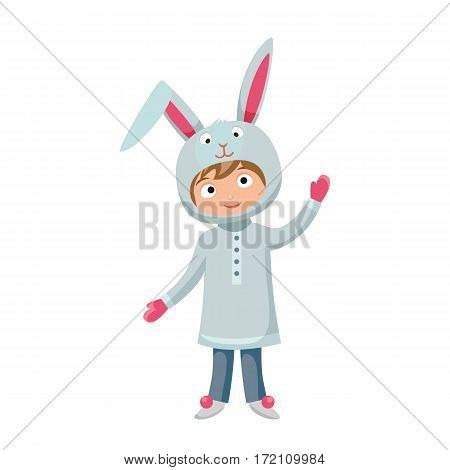 Kid costume isolated vector illustration. Playful character spooky baby sweet festival superhero. Children party happy celebration cartoon funny clothes.