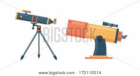 Telescope for astronomy science space discovery instrument vector illustration. Sky universe glass magnification equipment. Planetarium observation cosmos look.