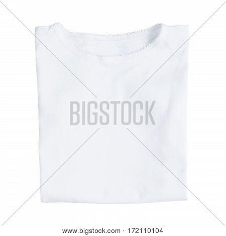 White female folded t-shirts isolated on white background