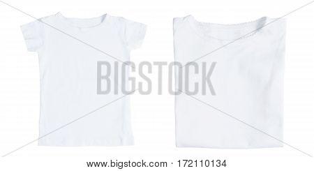 White female folded and front t-shirts isolated on white background. Flat lay