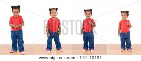 Sequence of four images with a beautiful african baby girl with red t-shirt and jeans
