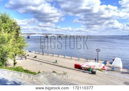 SARATOV RUSSIA - September 09.2016: Valley motor-car bridge across the river Volga from a city Saratov in a city Engels Saratov Oblast